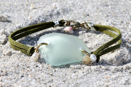 Vaseline Sea Glass Bracelet with Lime Green Suede Straps - 7.5""
