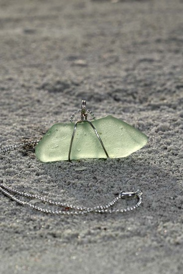 Seafoam seaglass Pendant NECKLACE, silver wire-wrapped on sterling chain