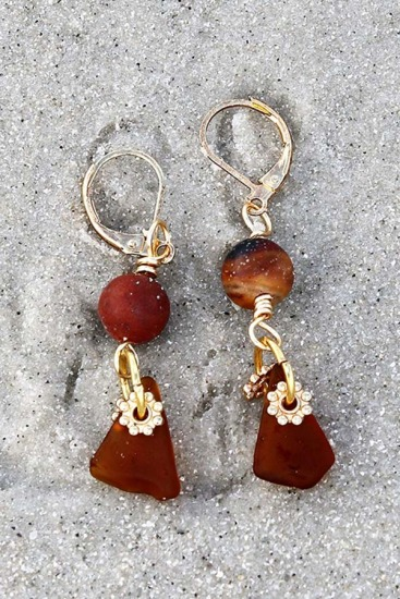 Amber Sea Glass Chips and Amazonite