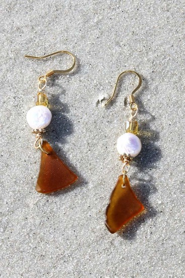 Amber Sea Glass Chips, Freshwater Pearl and Swarovski Crystal