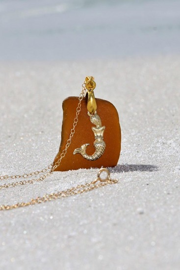 Amber seaglass with gold Mermaid charm pendant NECKLACE, GF chain
