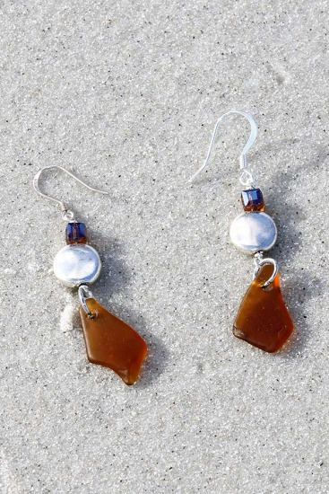 Amber Sea Glass, Coin Pearl and Swarovski Crystal EARRINGS