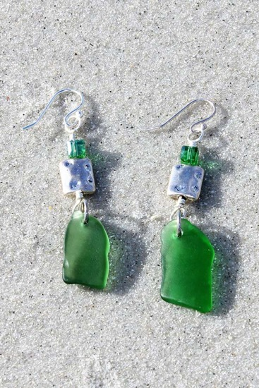 Kelly Green Sea Glass Chip and Swarovski Crystals EARRINGS on sterling fishhook earwires