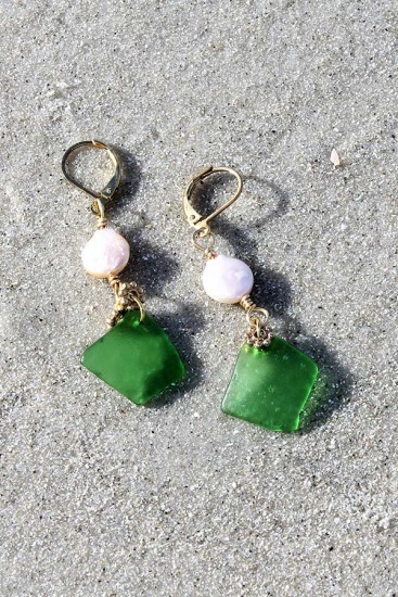 Kelly Green Sea Glass Chips and Freshwater Pearls