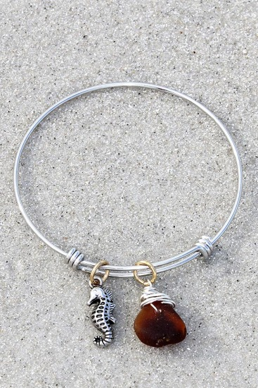 Stainless Steel Bangle BRACELET with Amber Sea Glass Chip and Seahorse Charm