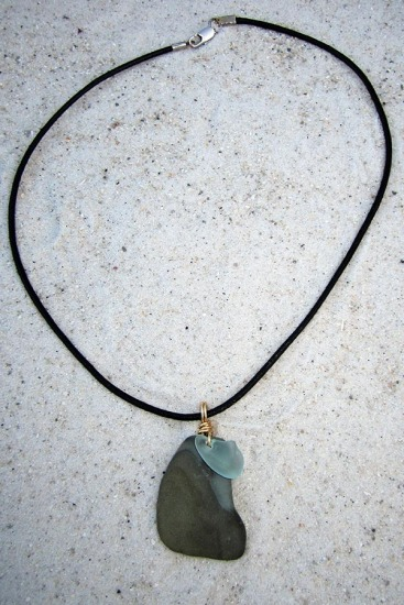 "Rustic slate Beach Stone with Aqua Sea Glass Chip NECKLACE on 18"" round black leather cord, lobster clasp"