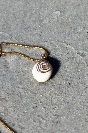 Rustic White Beach Stone with Wire Charm