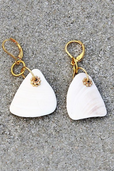 White Seashell Fragment earrings, gold-filled lever back