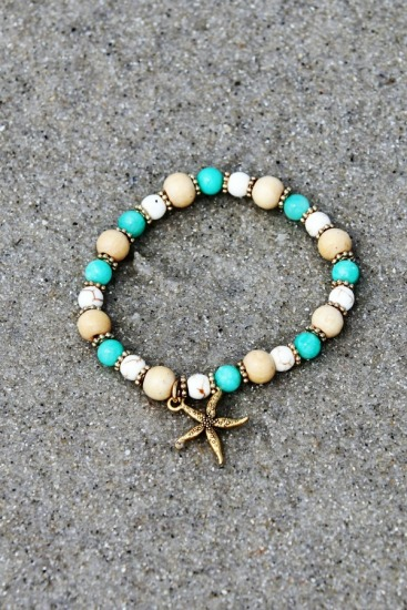 Blonde wood, turquoise glass, malachite and gold beaded stretch BRACELET, gold starfish charm