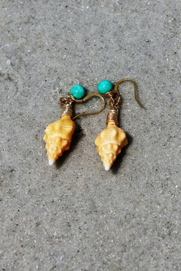 bright tangerine colored horse conch dangle earrings with turquoise bead charm, gold filled fishhook earwires