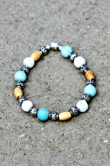 Blonde wood, blue Amazonite and white moonstone beaded BRACELET,  magnetic clasp 6.5 inches