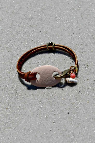 Rustic peachy pink Beach Stone BRACELET with seashell charm on rawhide leather straps