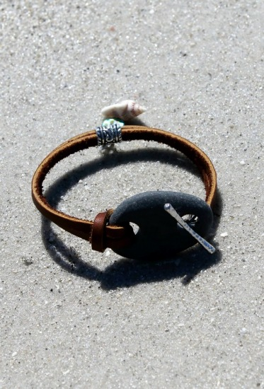 Rustic charcoal grey Beach Stone BRACELET on rawhide leather straps, seashell charm