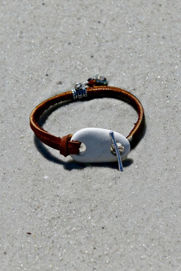 Rustic white Beach Stone BRACELET on rawhide leather straps