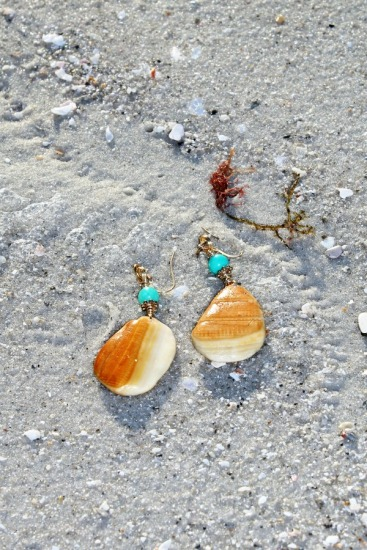 "golden orange quahog shell fragment earrings with turquoise bead, gold-filled fishhook earwires 1.5""L"