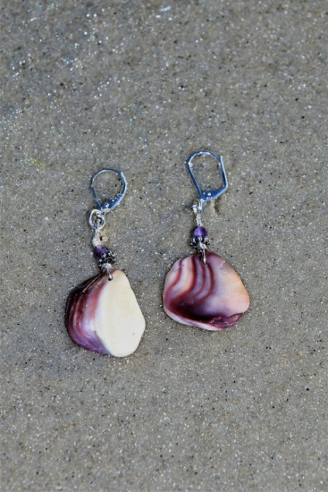 "purple wampum shell fragment earrings with amethyst bead, sterling earwires  2""L"