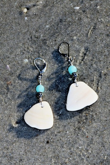 "white quahog shell fragment with aqua glass bead, sterling lever-back earrings 2""L"