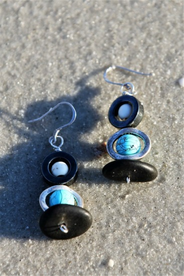 "Black beach stone, turquoise and white howlite beads, hematite EARRINGS on sterling fishhook earwires, 1.5""L"