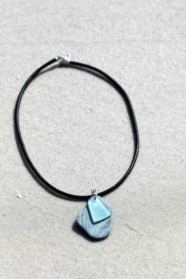 "Grey blue slate and aqua seaglass chip pendant NECKLACE (2""L x 1""w) on 18"" black leather cord, lobster clasp"