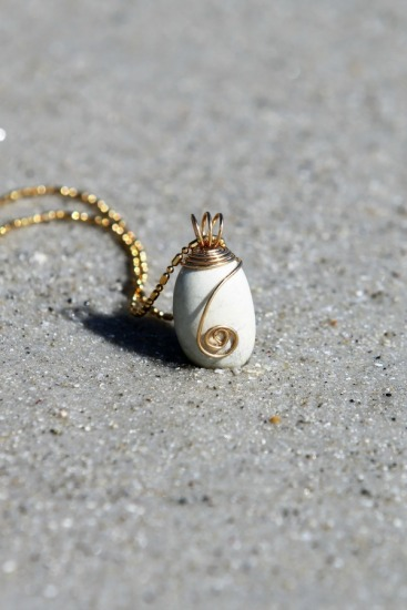 "Rustic white beach stone pendant NECKLACE (pendant .5""L x .25""W), gold wire wrapped, on 18"" gold-filled chain"