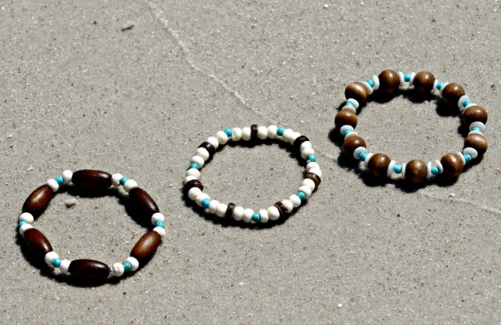 Set of 3 beachy stretch BRACELETS: olive wood, bone and turquoise howlite beads, 7/7.5 in.