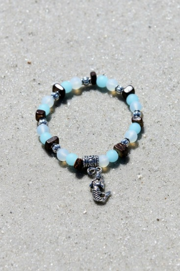 Matte white quartz, coconut and aqua recycled sea glass bead stretch BRACELET with silver mermaid charm, 6.5/7 in.