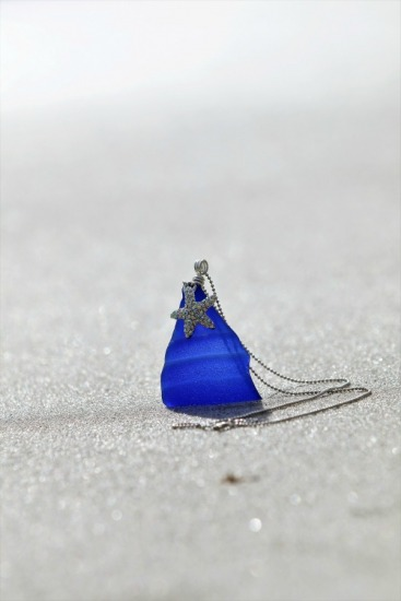 "cobalt seaglass pendant with pave' starfish charm - 2""L x 1.5""W, sterling chain 18 in."