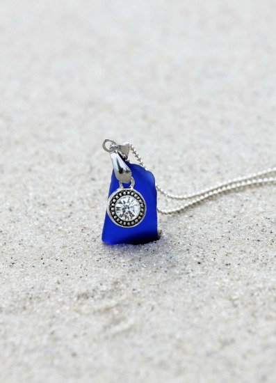 "Cobalt blue seaglass with CZ crystal charm pendant NECKLACE, 3/4"" L x 1/2"" W, on 18"" sterling silver chain"
