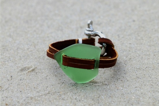 kelly green seaglass bracelet, leather straps, nautical shackle clasp - 6.75""