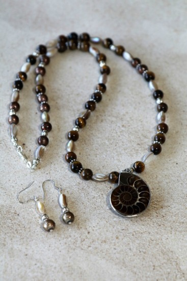 "Tigers' Eye, Mother of Pearl and Silver Beads strand (18"") with Fossilized Ammonite Pendant, drop earrings on silver fishook wires"