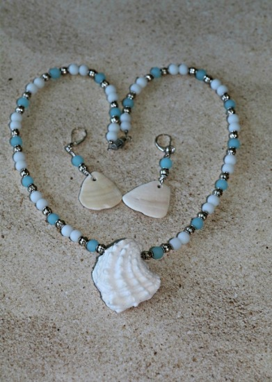 "White Jewelbox shell pendant NECKLACE - 18""  - white moonstone, blue glass and Bali silver beads, white clamshell fragment drop EARRINGS on sterling leverback earwires"