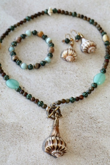 "Lightning Whelk pendant NECKLACE - 20"" - Amazonite, soapstone, aqua jade, verdi gris brass beads, brass front toggle clasp, matching drop EARRINGS on GF fishhook earwires"