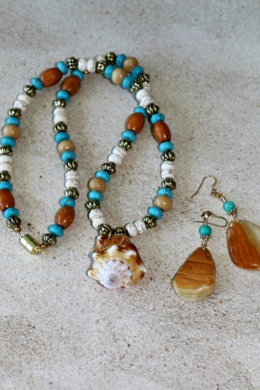 "Florida Fighting Conch fragment pendant NECKLACE  - 22"" - white and turquoise howlite and bone beads, gold spacers; matching gold quahog chip drop EARRINGS on GF earwires"