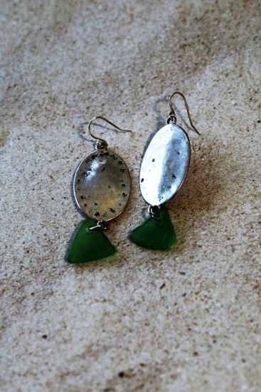 Green seaglass chips on silver plated disk earrings