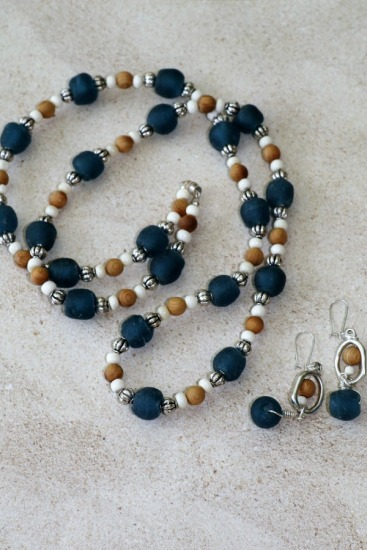 "Blue recycled African bottle glass, sandalwood, white howlite and Bali silver beaded NECKLACE, 36"", matching drop EARRINGS on sterling earwire"