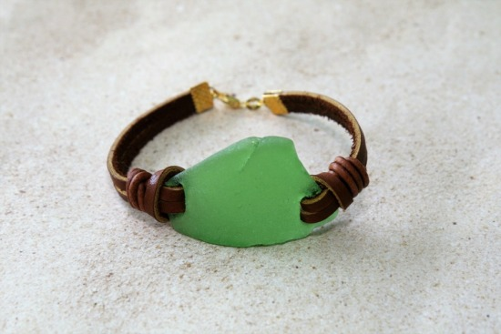 Kelly green seaglass on leather straps BRACELET, 7""