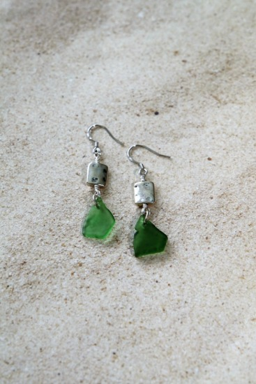 green seaglass chips, silver square on silver earwires