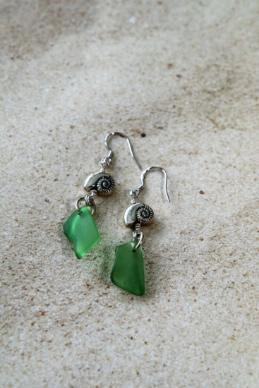 green seaglass chips, silver nautilus on silver earwires