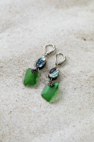 green seaglass chips, abalone bead, on silver leverback earwires