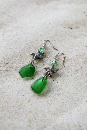 green seaglass chips, silver starfish, Swarovski crystal on silver earwires