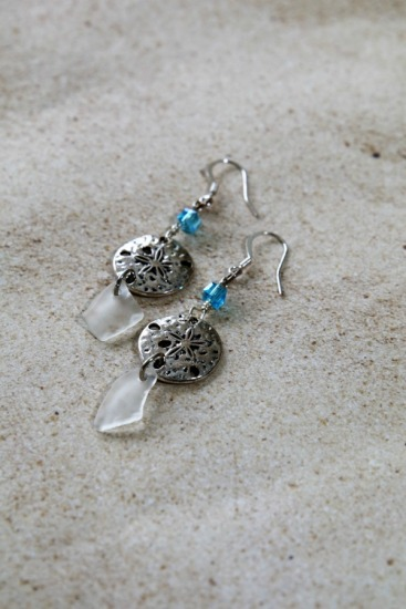 white seaglass chips, silver sand dollar, Swarovski crystal on silver earwires