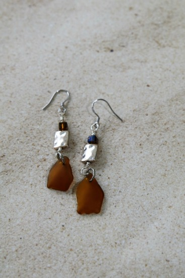 Amber seaglass chips, silver square, Swarovski crystal EARRINGS on silver fishhook earwires