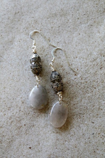 White polished beach quartz, crystal and Bali silver bead EARRINGS on sterling silver fishhook earwires