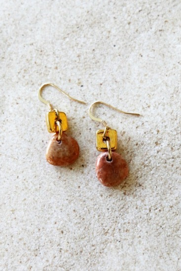 Tangerine colored polished quartz beach stone EARRINGS on gold-filled fishhook earwires