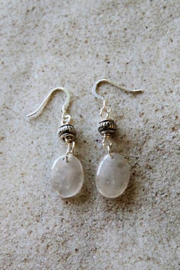 White polished beach quartz EARRINGS with Bali silver bead on sterling silver fishhook earwires
