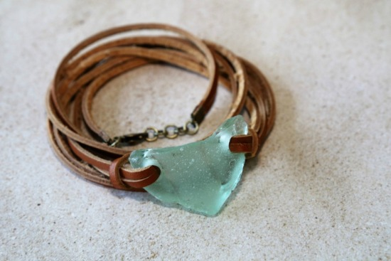 Seafoam seaglass and leather wrap bracelet - ONE SIZE