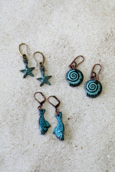 Verdi gris copper drop EARRINGS on copper/brass earwires - Fish, Starfish, Nautilus.  Please specify