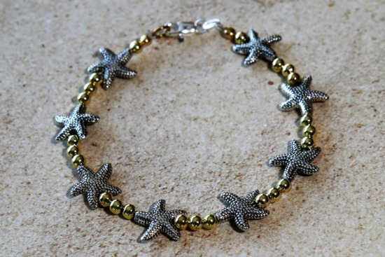 Silver and gold beaded stack BRACELET - starfish - lobster clasp 7""