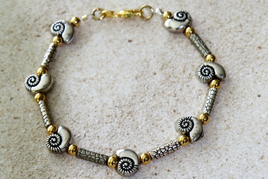 Silver and gold beaded stack BRACELET - nautilus - lobster clasp 7""