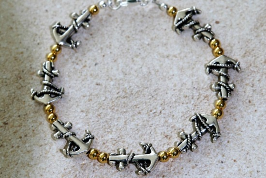 Silver and gold beaded stack BRACELET, anchors, lobster clasp - 7""